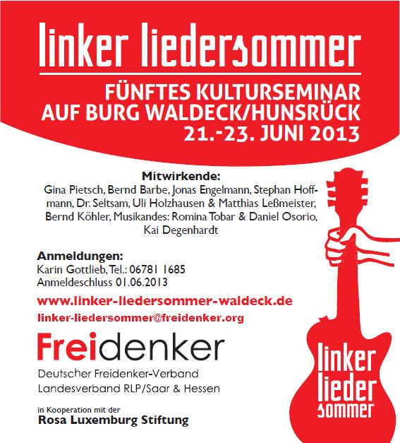 Linker Liedersommer auf Burg Waldeck, Juni 2013