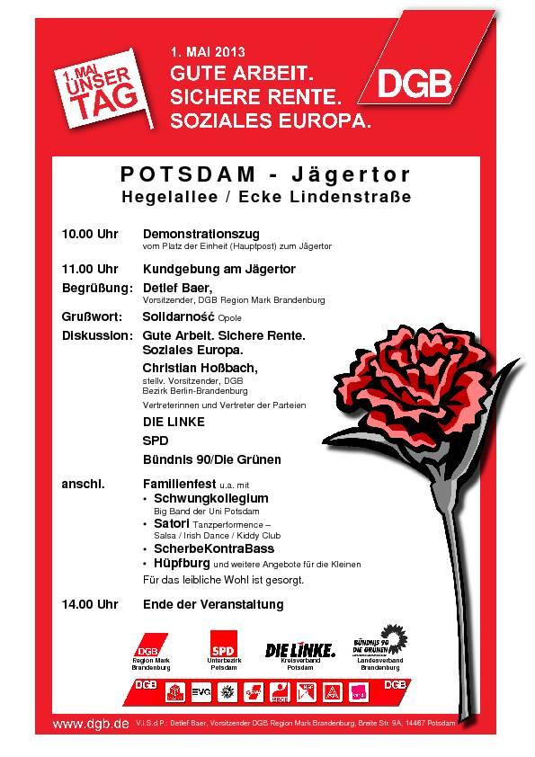 Plakat zur Maifeier 2013 in Potsdam, Quelle: Die Linke Potsdam