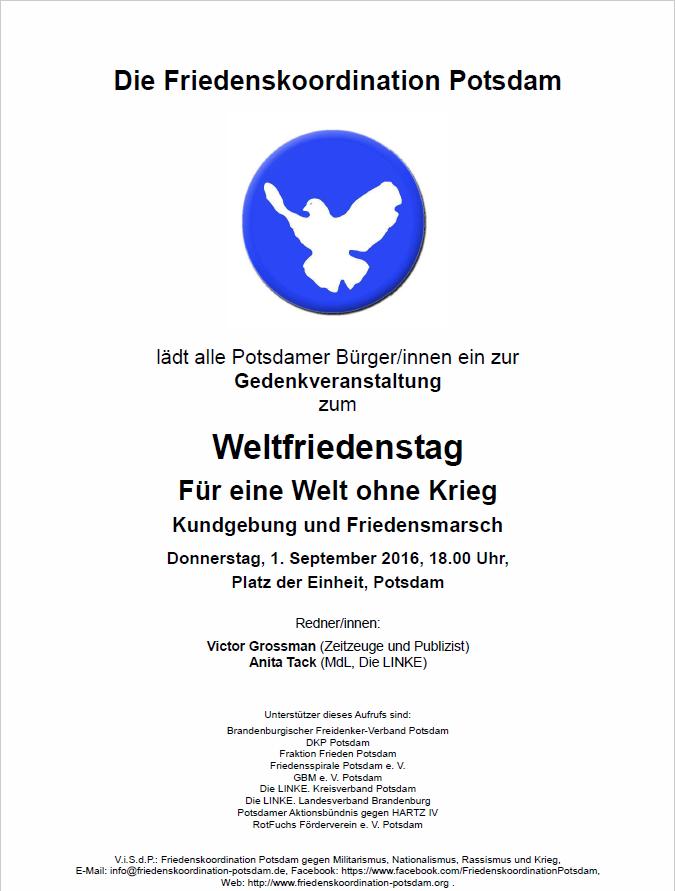 01.09.2016 Friko Potsdam - Weltfriedenstag